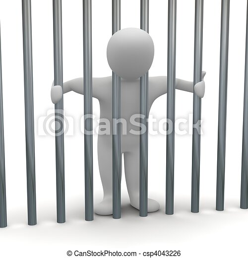 Jailed man in cell. 3d rendered illustration. - csp4043226