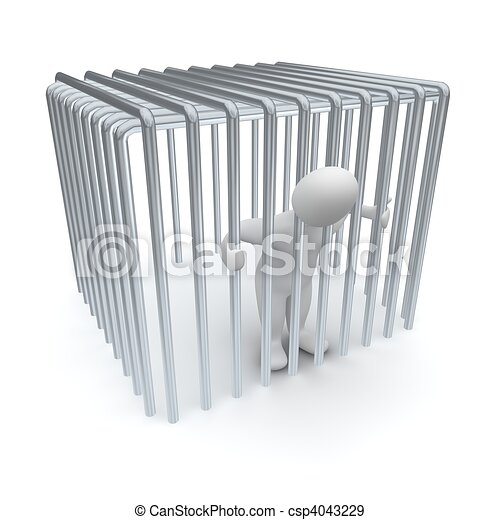 Jailed man in cage. 3d rendered illustration. - csp4043229