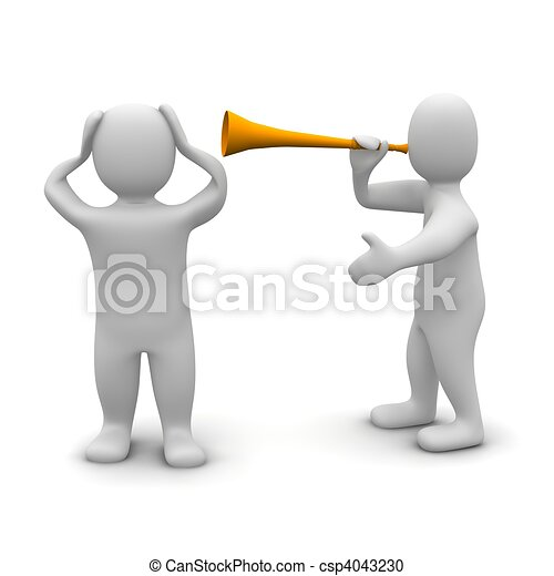 Man protecting his ears against vuvuzela noise. 3d rendered illustration. - csp4043230