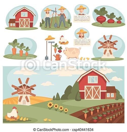 Vettori di fattoria villaggio paesaggio costruzione for Foto di piani di costruzione di fattoria