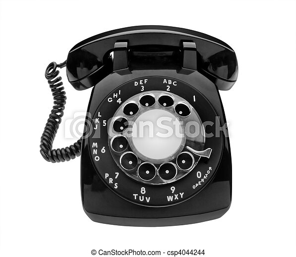 Bulbous black dial phone, isolated - csp4044244