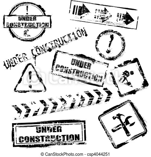 Under construction stamps - csp4044251Under Construction Clipart Black And White