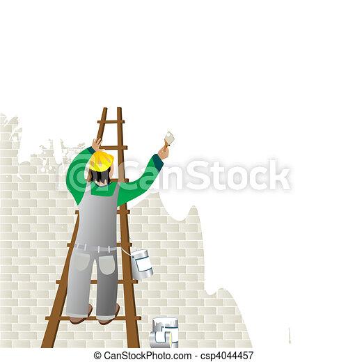 Man Painting Logo Man Painting Csp4044457