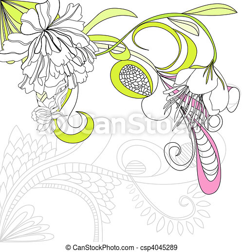 Vector background with flowers  - csp4045289