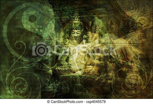 町, 陶磁器, 寺院, 中国語 - csp4045579