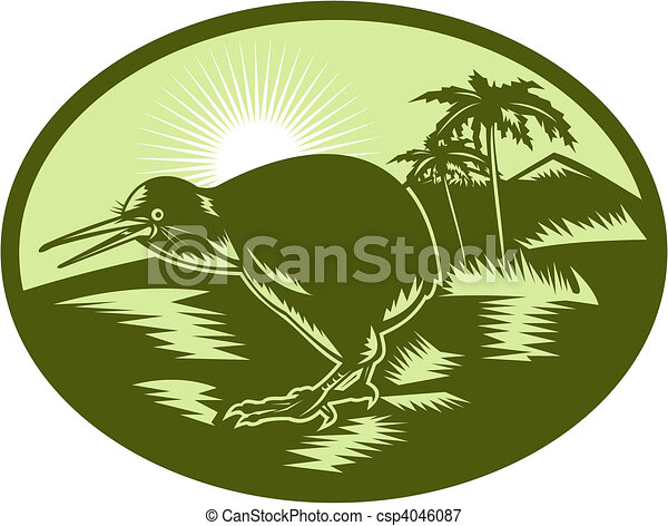 Kiwi bird side view with tree in background - csp4046087