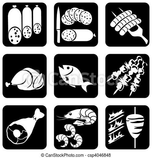 meat food icons - csp4046848