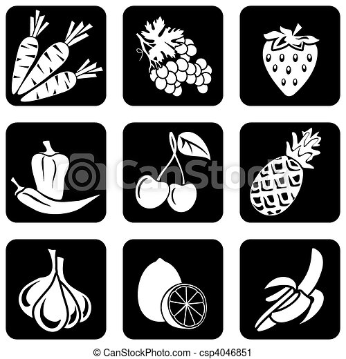 fruit and vegetables icons - csp4046851