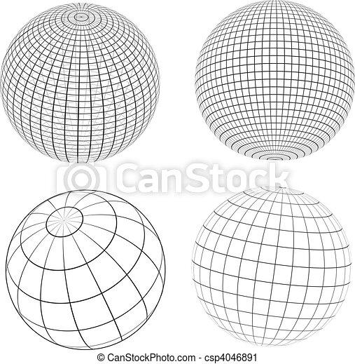 Wireframe globes - csp4046891