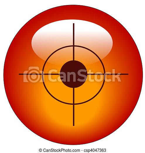 red bullseye or target web button or icon - csp4047363