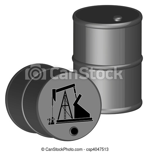 two oil barrels with oil pump illustration  - csp4047513