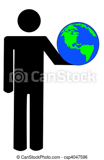 stick man or figure holding up globe - csp4047596