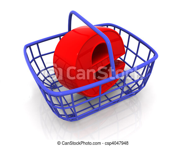 Consumer's basket with symbol for internet - csp4047948
