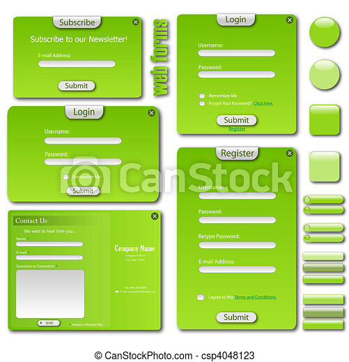Image of a colorful green web template with forms, bars and buttons. - csp4048123
