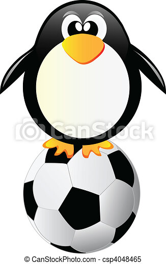 penguin with soccer ball isolated o - csp4048465