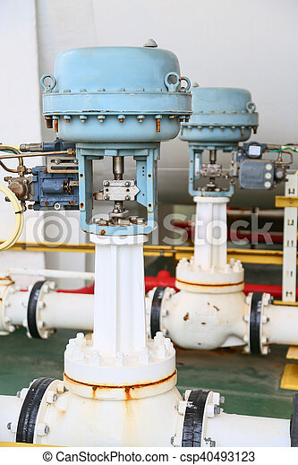 Pressure control valve in oil and gas process and controlled by Program Logic Control, PLC controller the valve and control instrument gas supply to actuator of the valve as PLC command.