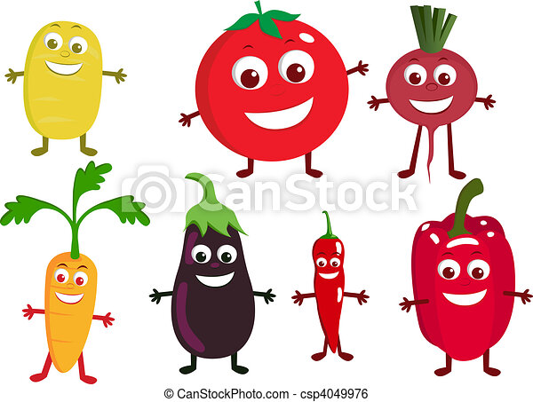 Vegetable cartoon character - csp4049976
