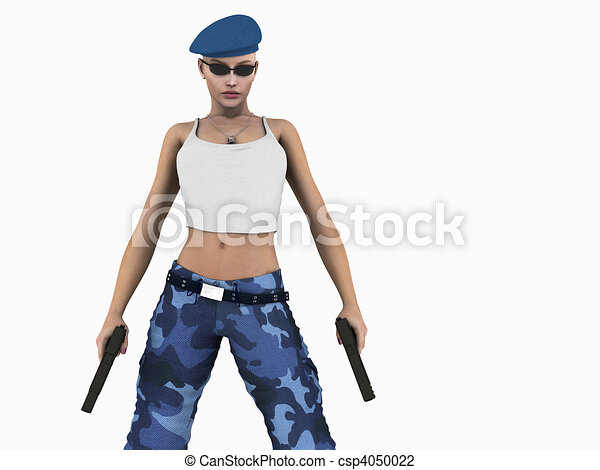 Clip Art of Soldier woman - 3d illustration of soldier girl ...