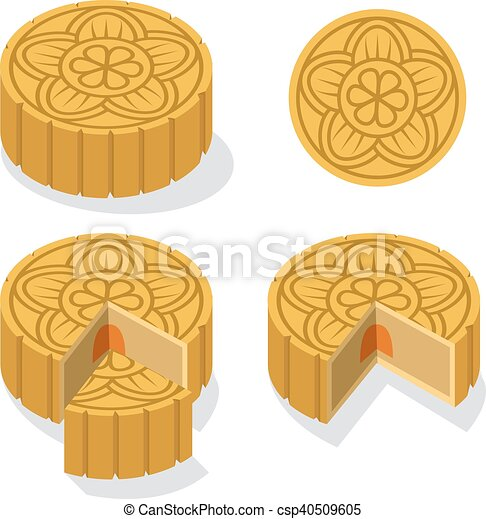 Moon Cake Clip Art : Vector Clipart of Chinese Moon cake with floral pattern ...