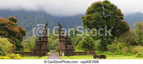Panorama of a beautiful Bali temple