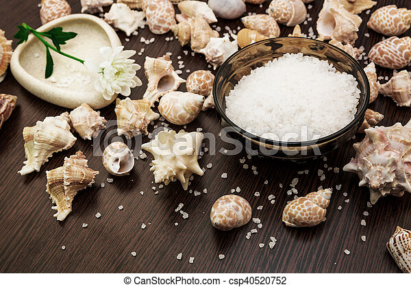 Shell background abstract spa, sea salt, flower