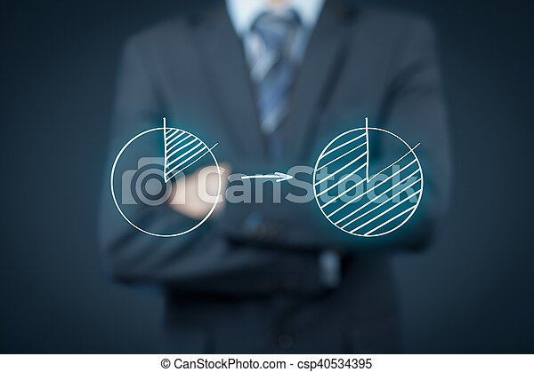 Market share or Pareto principle (80/20) concept. Man think how to increase company market share and apply Pareto principle.