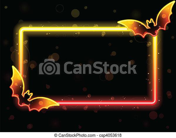Halloween Lights Frame with Bats - csp4053618