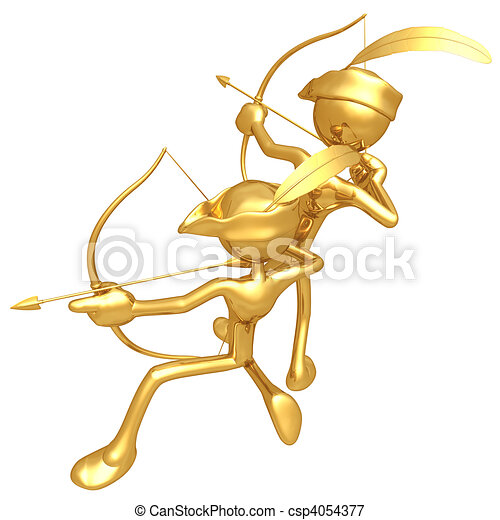 oro, tipo, Arqueros - csp4054377