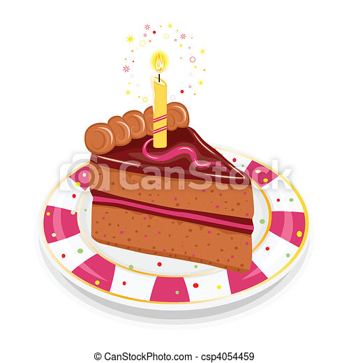 Festive birthday cake with candle - csp4054459