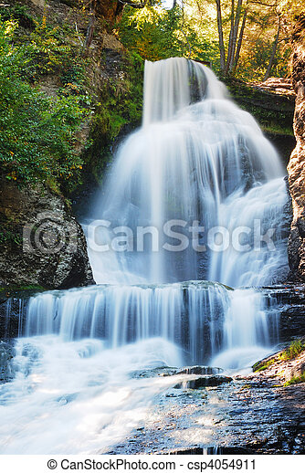Waterfall in Autumn - csp4054911