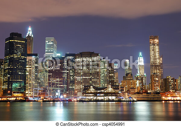 New York City skyscrapers at night - csp4054991