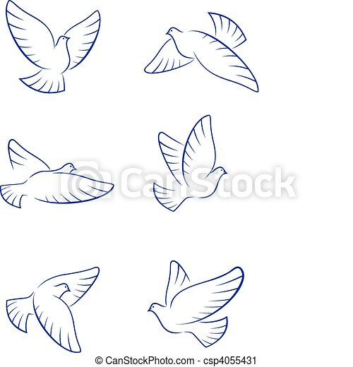 Set of white doves as a concept of love or peace