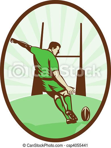 Rugby player kicking ball at goal post viewed from the rear set inside an ellipse done in retro style. - csp4055441