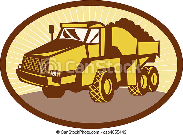 illustration of a mining Tipper dumper dump truck or lorry set inside an ovall done in retro woodcut style. - csp4055443