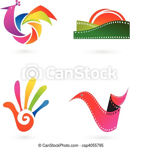 Art, cinema and photo icons - csp4055795