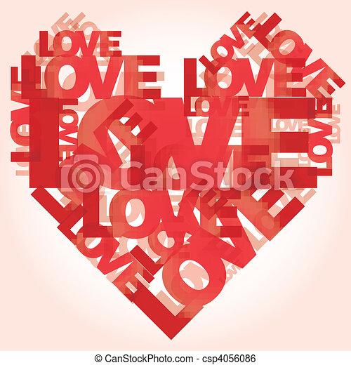 Valentine heart from love words  - csp4056086