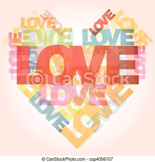 Valentine heart from love words  - csp4056107