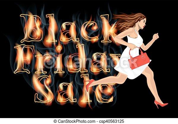Black friday sale woman run - csp40563125