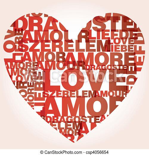 Valentine heart from love words  - csp4056654