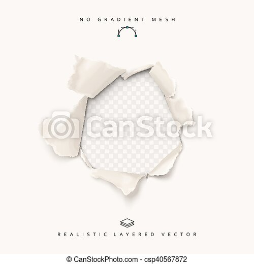 Torn paper realistic, hole in the sheet of papers on a transparent background. - csp40567872