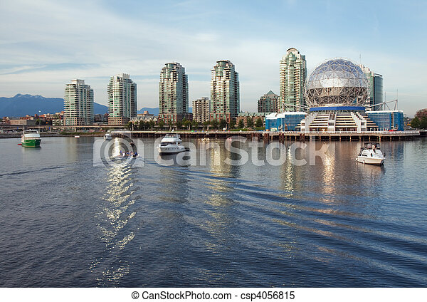 Vancouver Science World skyline from the water of False Creek - csp4056815