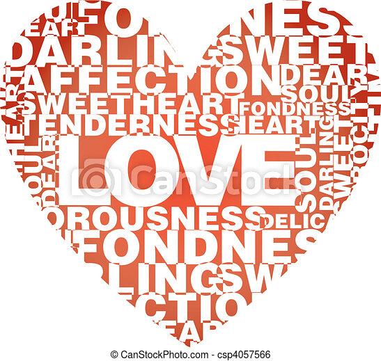 Valentine heart from love words  - csp4057566