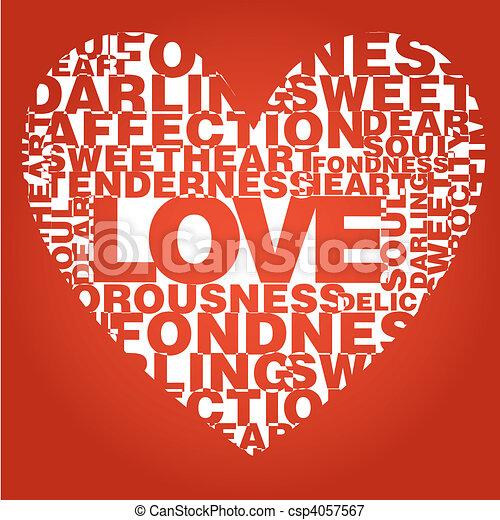 Valentine heart from love words  - csp4057567