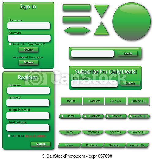 Green Web Forms and Buttons - csp4057838