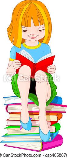 Girl reading book - csp4058670