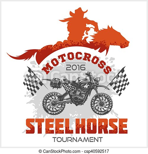 Motocross Tournament emblem - moto and horse for t-shirts on white background - csp40592517