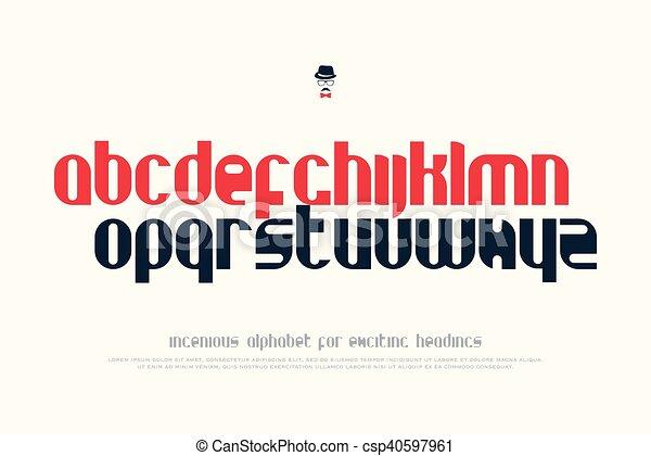 Clip Art Vector of handbook - set of stylish alphabet letters ...