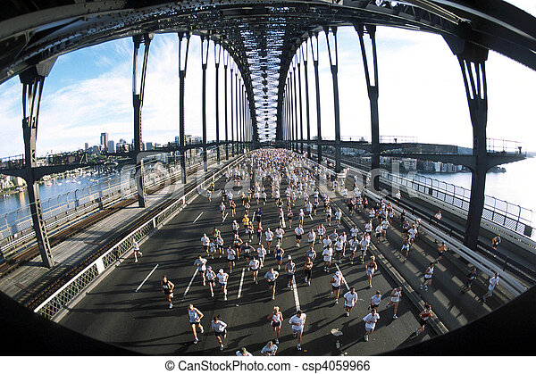 Marathon runners cross the Sydney Harbour bridge during the race. - csp4059966