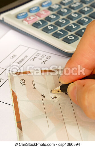Write a check to pay the bills - csp4060594