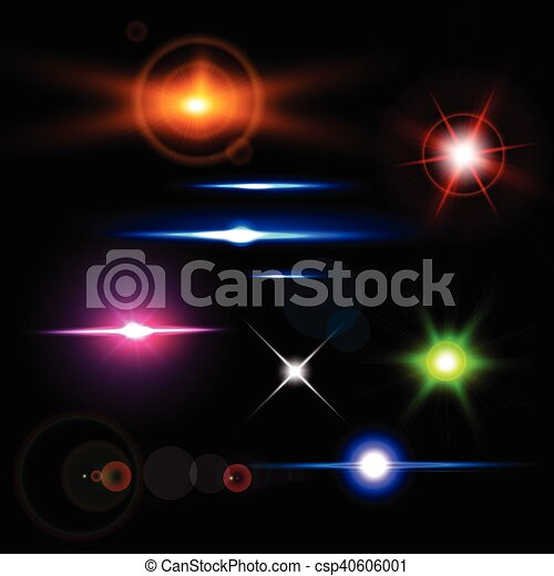 vector hermoso brillo destello flares coleccin lente realista brillante highlight efectos luz